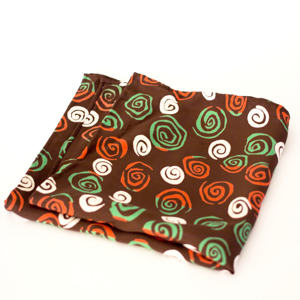 Jazzy Green and Brown Whirl Rayon Pocket Square by Put This On