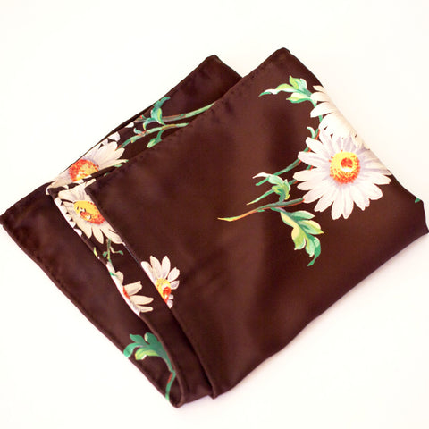Detailed Daisy Print Rayon Pocket Square by Put This On