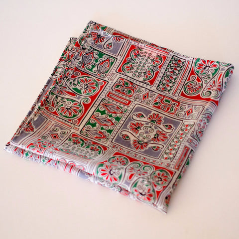 Beautiful Green/White/Red/Gray Rayon Pocket Square by Put This On