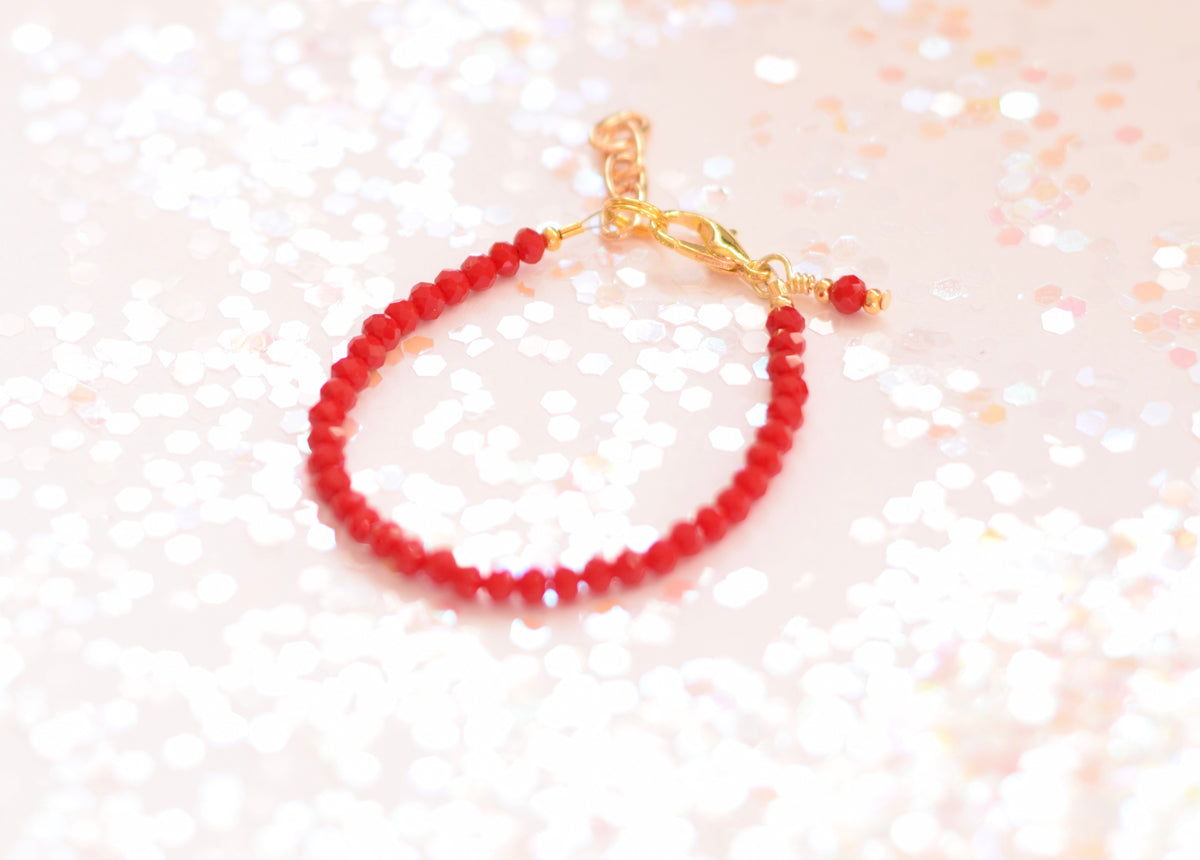 Tiny Ruby Faceted Bracelet