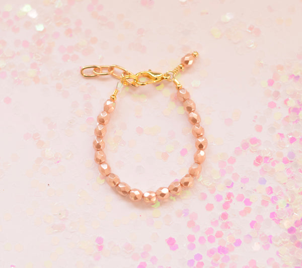 Ivory Blush Faceted Bracelet