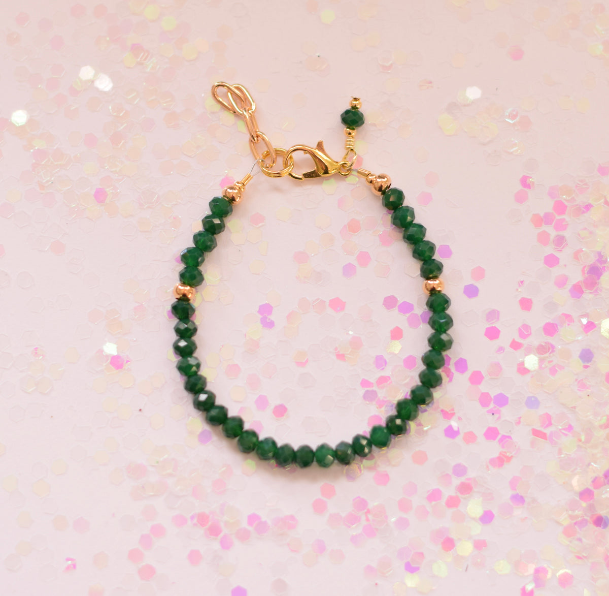 Emerald Gold Sparkle Beaded Bracelet