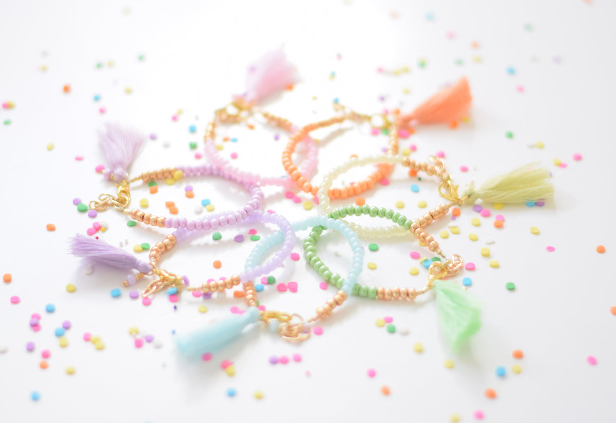 Cotton Candy Tassel Stackable Bracelet Collaboration with Gemma + Filo