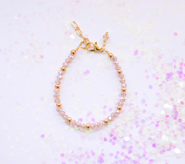 Mauve Gold Sparkle Beaded Bracelet