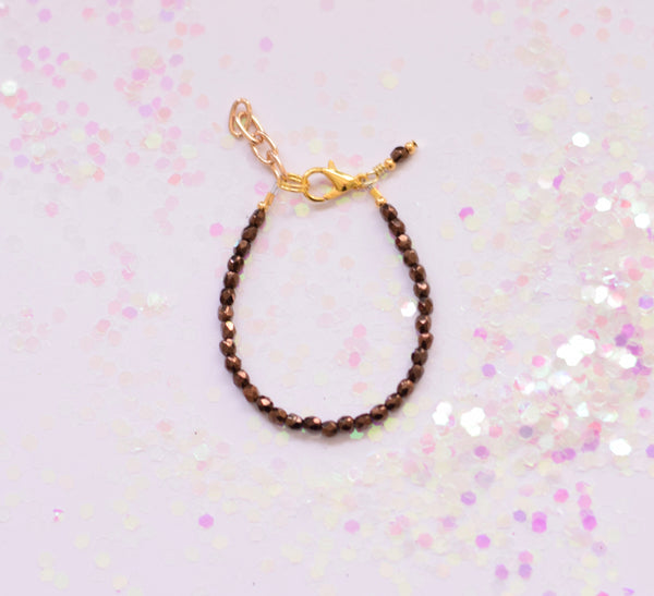 Tiny Bronze Faceted Bracelet