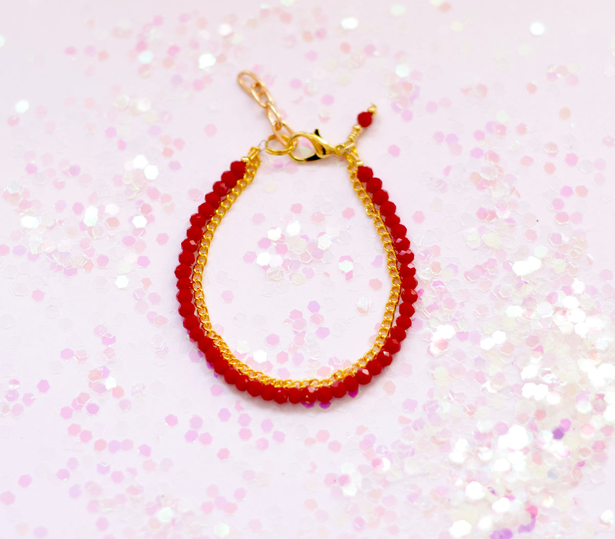 Tiny Ruby Gold Chain Duo Bracelet