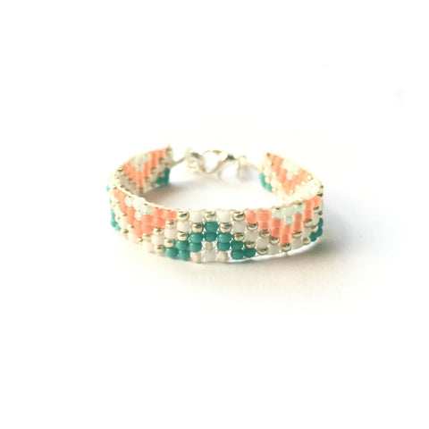 Coral & Turquoise Zig Zag Woven Bracelet