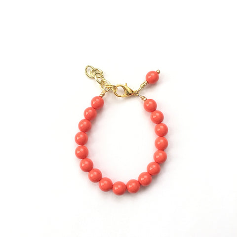 Classic Coral Glass Pearl Bracelet