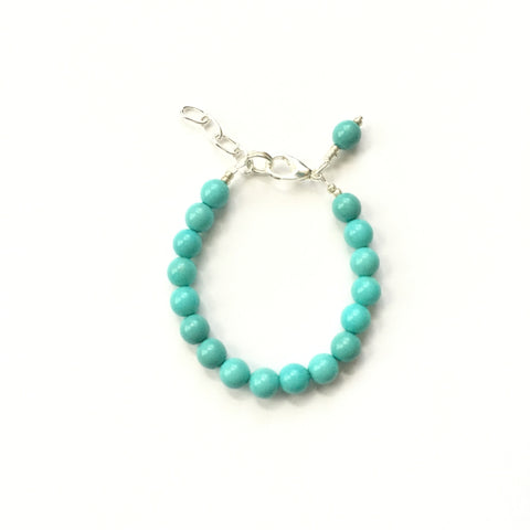 Classic Turquoise Glass Pearl Bracelet