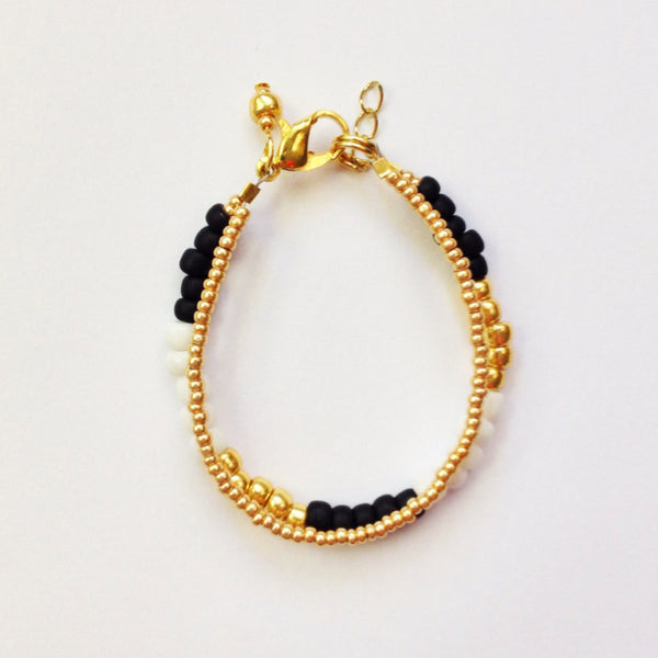 Gold, Black & White Duo Bracelet