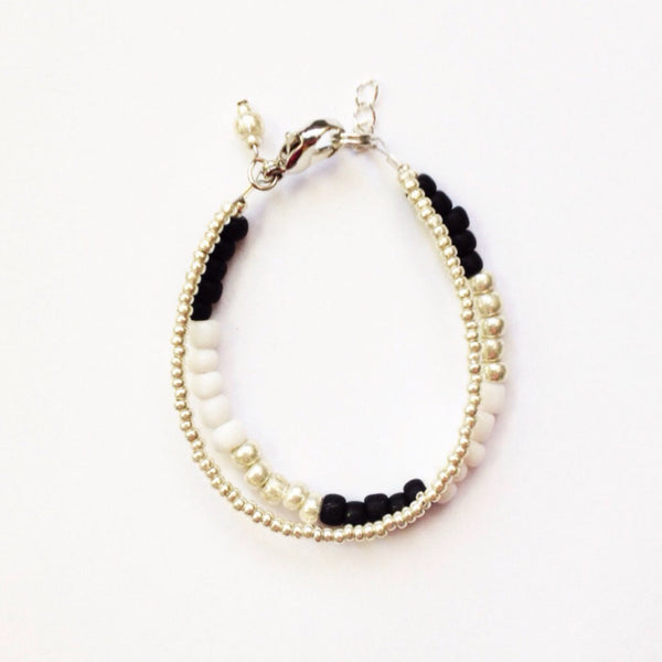 Silver, Black & White Duo Bracelet