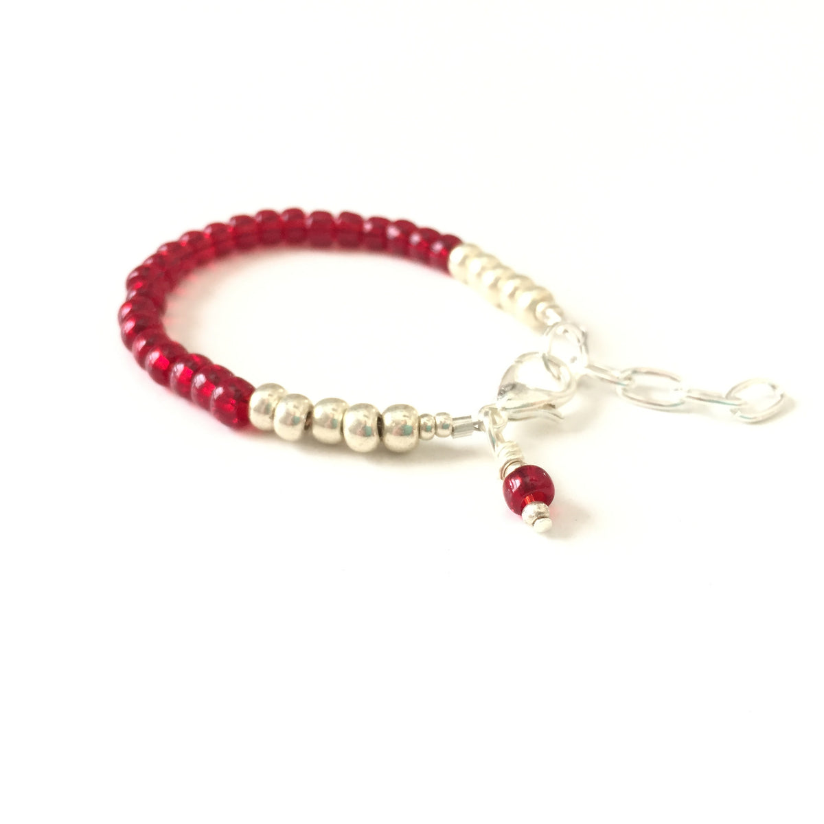 January Birthstone Garnet Colored Stackable Bracelet