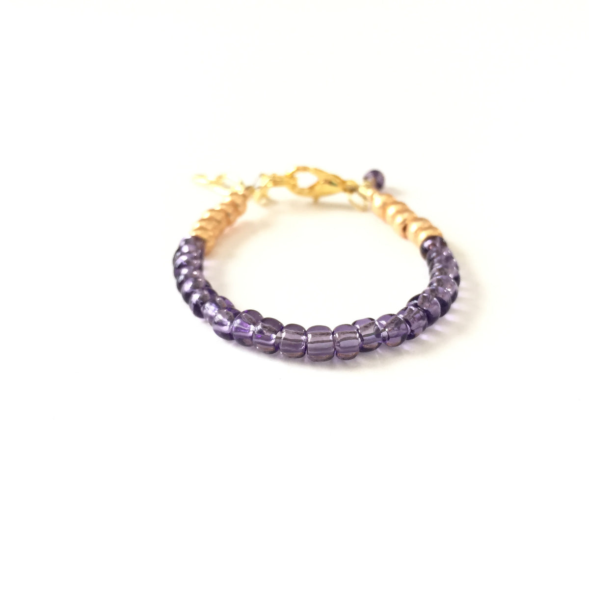 February Birthstone Amethyst Colored Stackable Bracelet