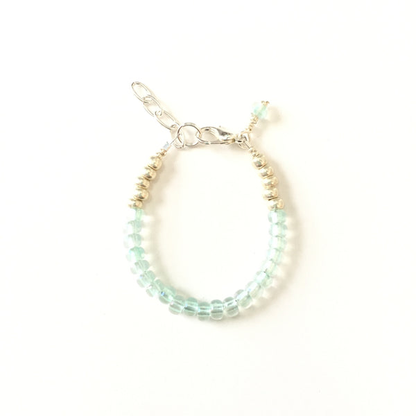 March Birthstone Aquamarine Colored Stackable Bracelet