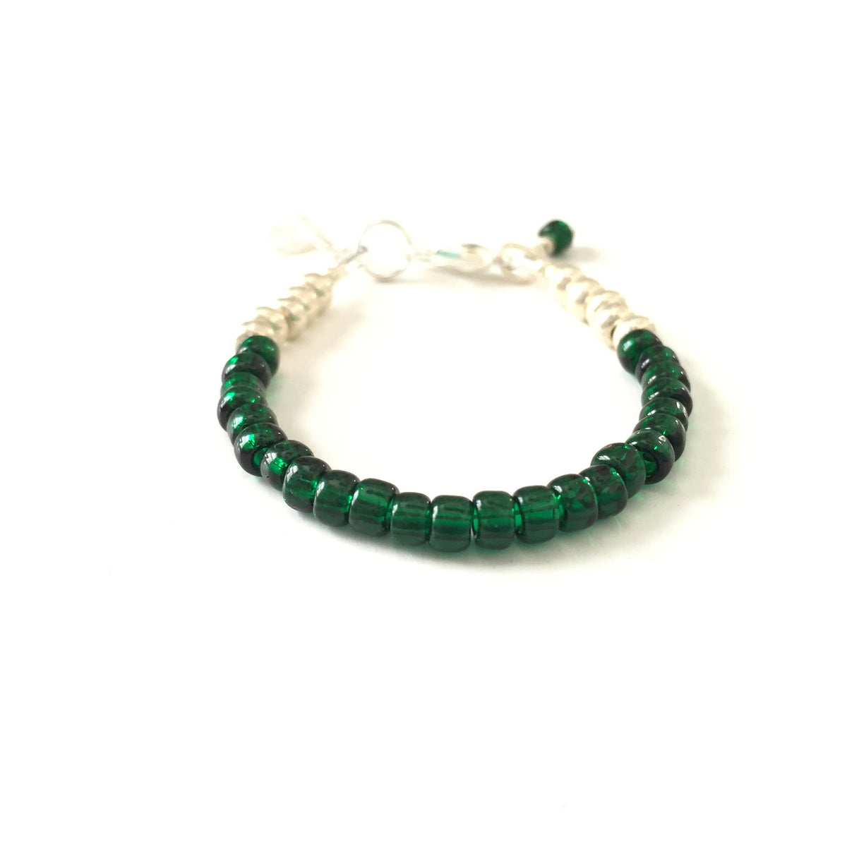 May Birthstone Emerald Colored Stackable Bracelet