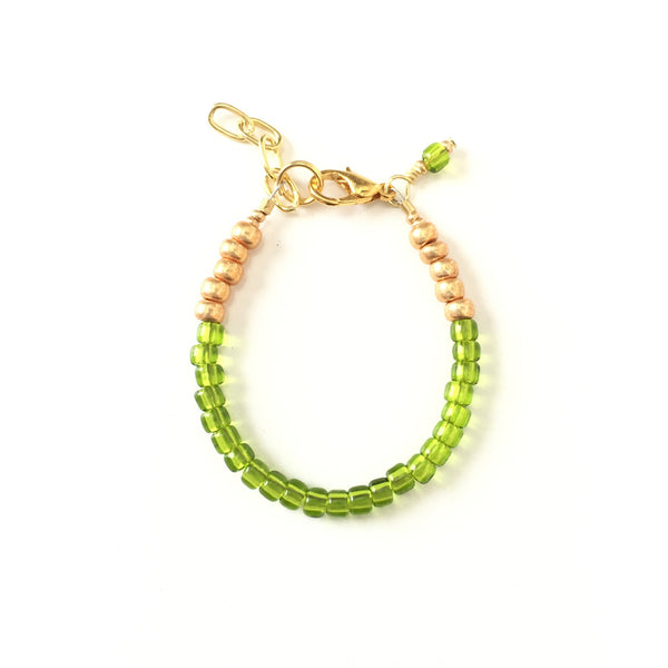 August Birthstone Peridot Colored Stackable Bracelet