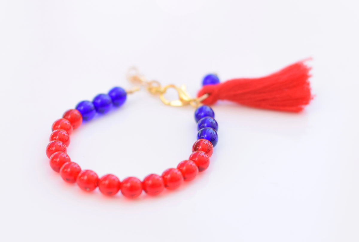 Stars & Stripes Color Block Tassel Bracelet
