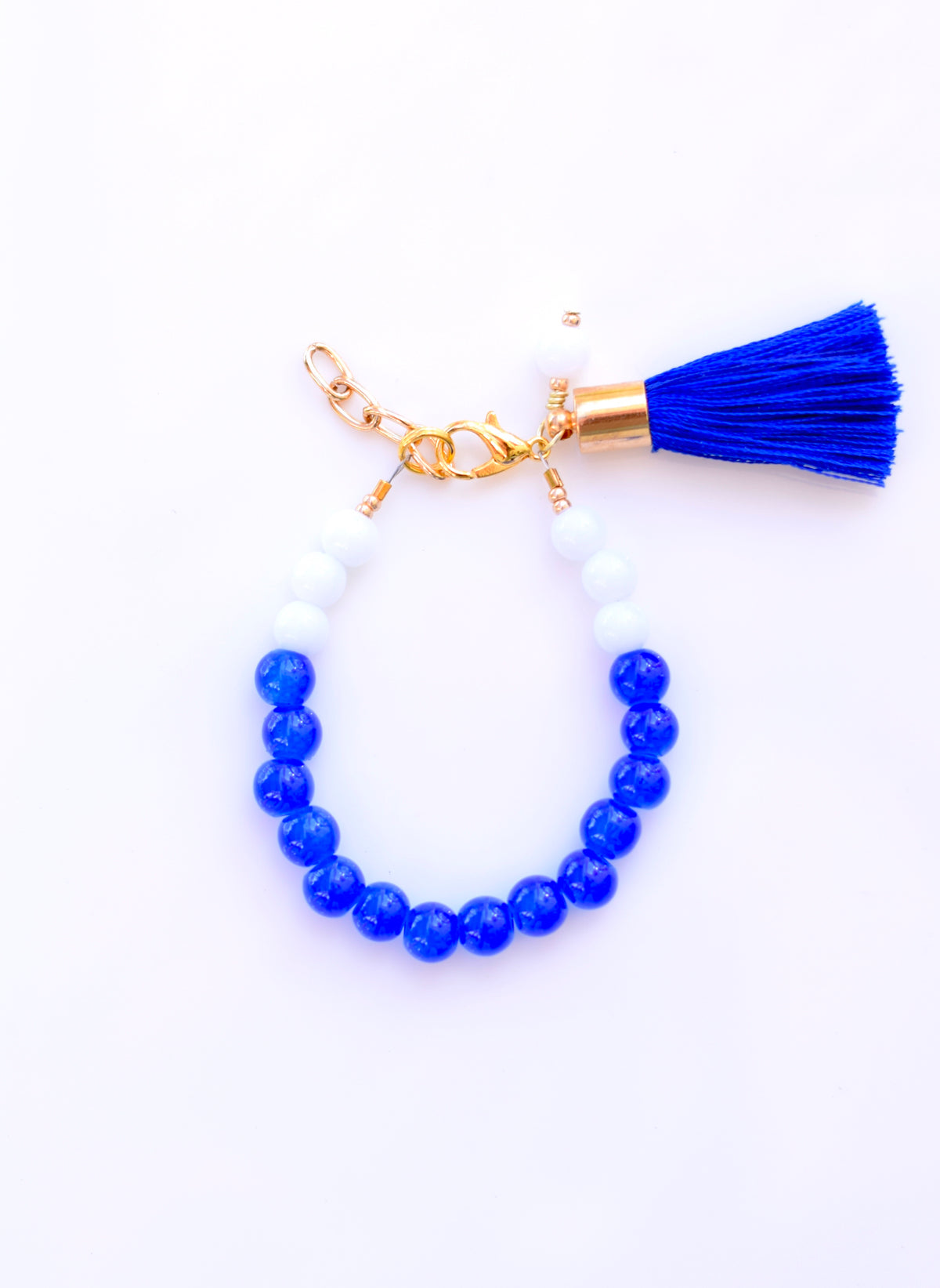 Blue & White Color Block Tassel Bracelet