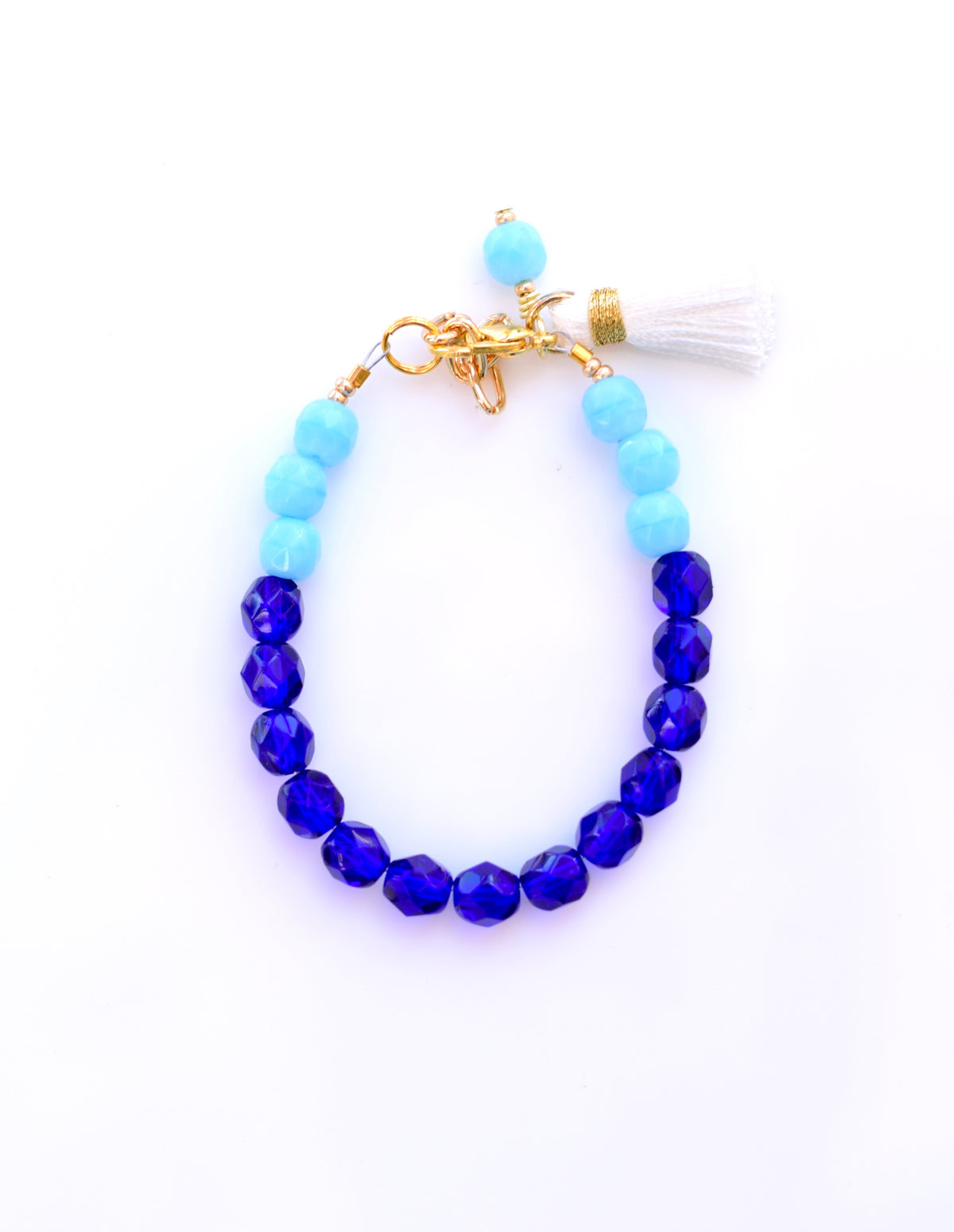 True Blue Color Block Tassel Bracelet