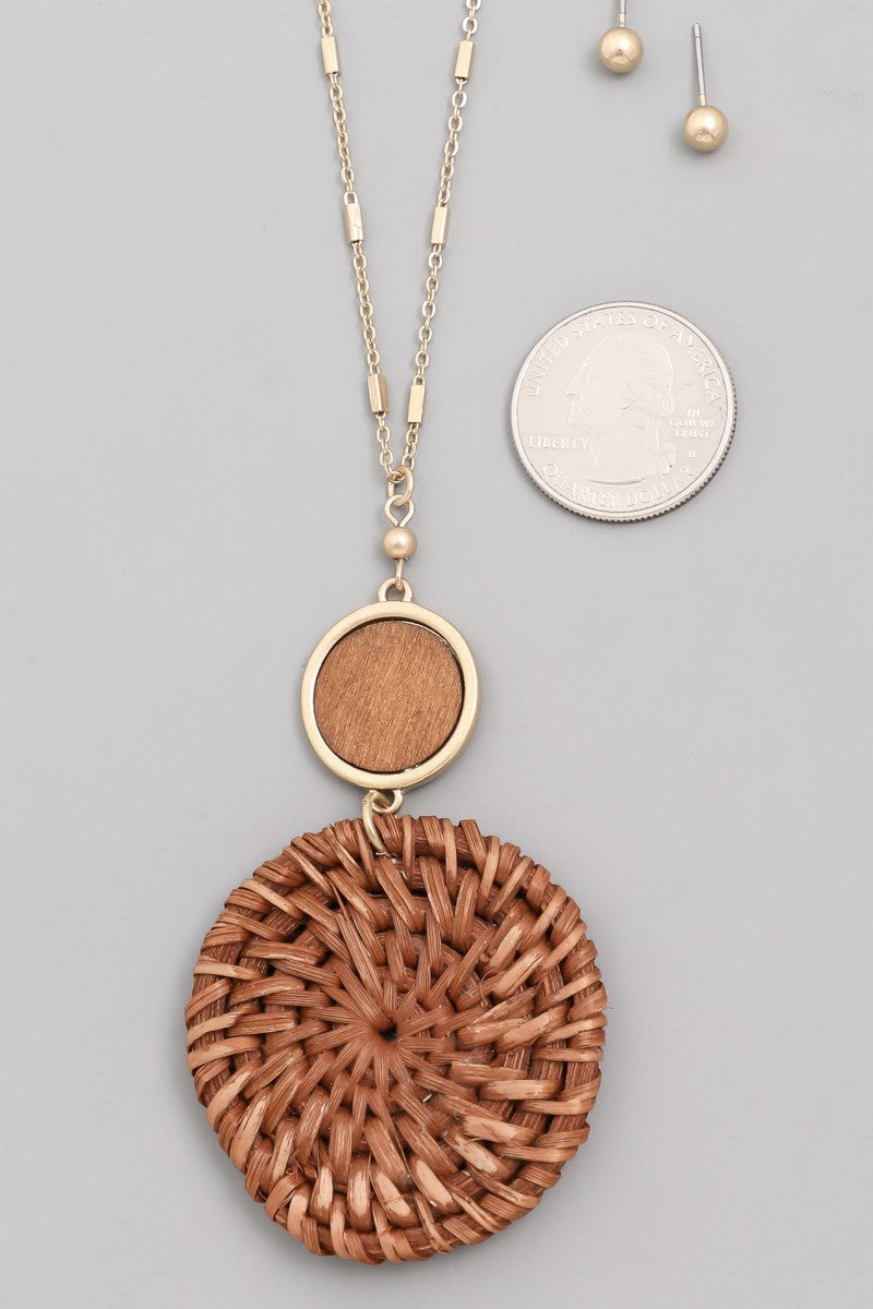 Rattan Medallion Necklace