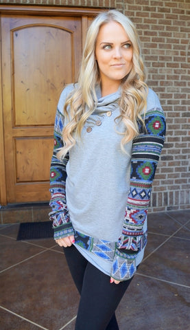 Aztec Printed Cowl Neck Sweater