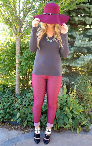 Burgundy Stretchy Jeggings