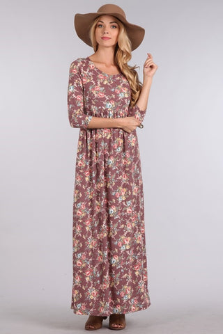 Floral  3/4 Sleeve Maxi Dresses
