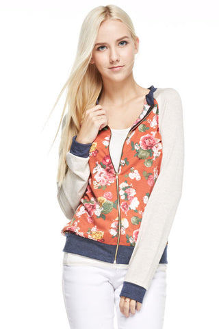 Rust Floral Bomber Jacket