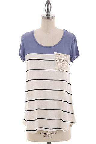 Lace and Stripe Short Sleeve Tunic
