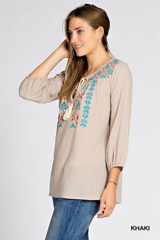 Embroidered Trim Tassel Top