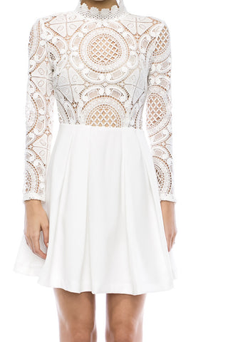 White Lace Me Up Dress