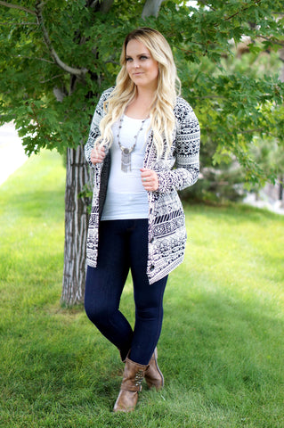 Aztec Oversized Button Down Sweater
