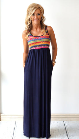 Embroidered Tribal Aztec Maxi
