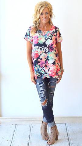 Scalloped Neon Floral Tops