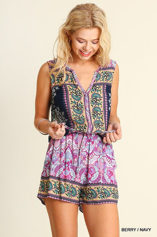 Morrocan Print Romper in Pink Berry