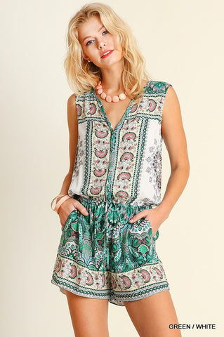Moroccan Print Romper in Teal
