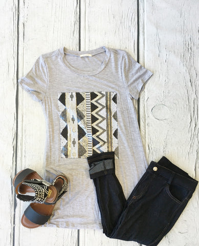 Sequin Front Short Sleeve Tunic