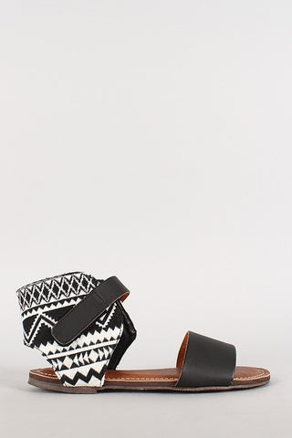 B&W Aztec Printed Sandals