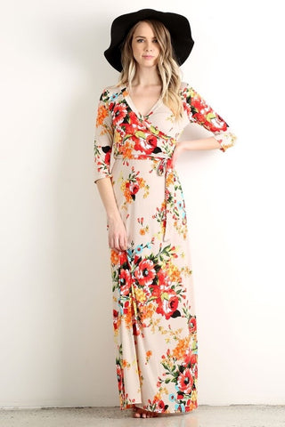 Floral Wrap Maxi Dress in Beige