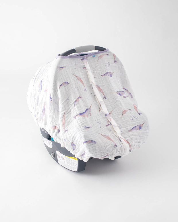 Cotton Muslin Car Seat Canopy - Narwhal