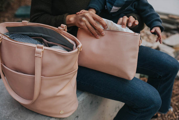 Vegan Leather Pouch Set - Blush
