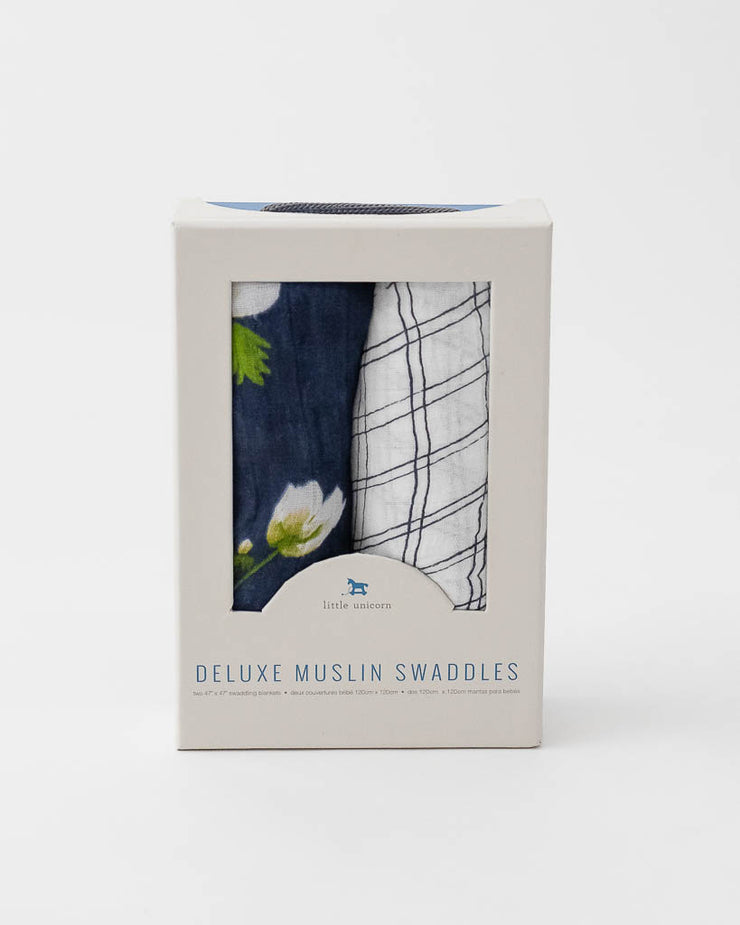 Deluxe Muslin Swaddle Blanket Set -  White Anemone