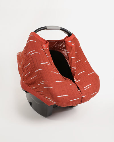 Cotton Muslin Car Seat Canopy - Baked Clay