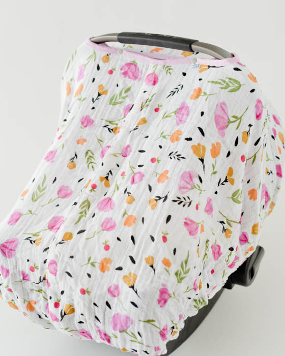 Cotton Muslin Car Seat Canopy - Berry & Bloom