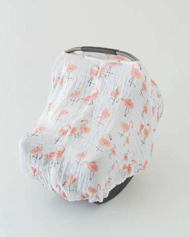 Cotton Muslin Car Seat Canopy - Pink Ladies & Car Seat Canopy