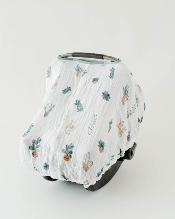 Cotton Muslin Car Seat Canopy - Prickle Pots & Little Unicorn Cotton Muslin Car Seat Canopy - Prickle Pots