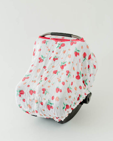Cotton Muslin Car Seat Canopy - Strawberry