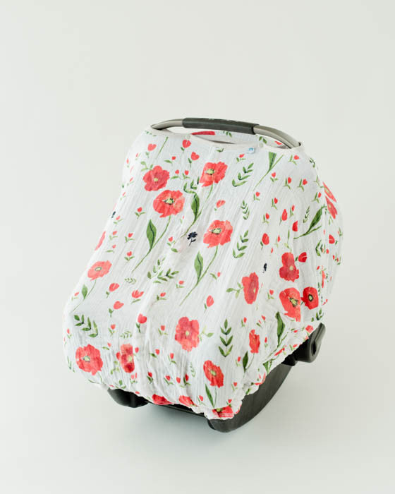 Cotton Muslin Car Seat Canopy - Summer Poppy (2017 Style)