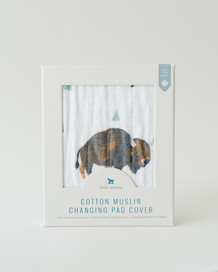 Cotton Muslin Changing Pad Cover - Bison