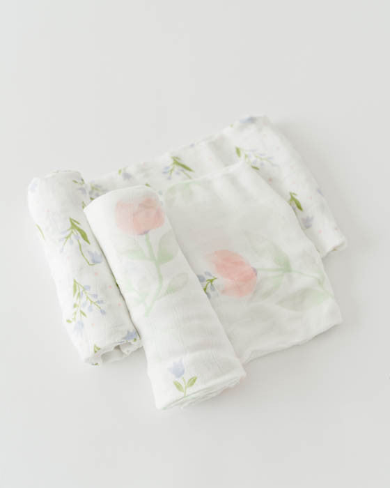 Deluxe Muslin Swaddle Blanket Set - Pink Peony